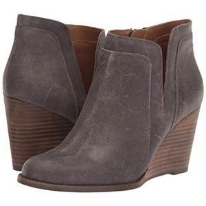 Lucky Brand Gray Grey Booties Suede